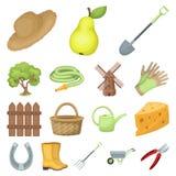 Cultive y los iconos de la historieta que cultivan un huerto en la colección del sistema para el diseño La granja y el equipo vec libre illustration