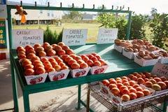 Cultivez la stalle avec des boîtes de tomates créoles fraîches photos libres de droits