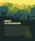 Cultivez le fond d'illustration, éléments colorés de silhouettes, plats Image libre de droits