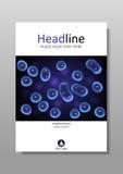 Cultivo celular azul con diseño de la cubierta del vector del núcleo Foto de archivo libre de regalías