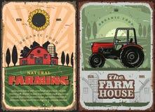Cultivo de agricultura y del cartel retro de la casa de la granja stock de ilustración