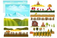 Cultivo de elementos infographic con el granjero, granja, creador del paisaje libre illustration
