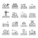 Cultivo de iconos en un estilo linear fino Fotografía de archivo