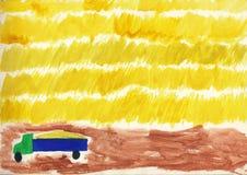 Cultivo de la cosecha del grano Niños que dibujan la acuarela Imagen de archivo