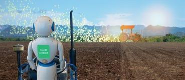 Cultivo esperto de Iot, agricultura na indústria 4 0 tecnologias com conceito da inteligência artificial e da aprendizagem de máq imagem de stock