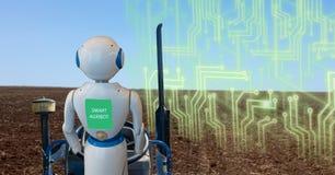 Cultivo esperto de Iot, agricultura na indústria 4 0 tecnologias com conceito da inteligência artificial e da aprendizagem de máq fotografia de stock royalty free