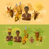 Cultura africana de África e bandeiras africanas dos tribos das tradições ilustração stock