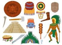 Cultura antica messicana di vettore azteco nel Messico ed il carattere dell'uomo di maya dell'insieme maya dell'illustrazione di  illustrazione di stock
