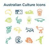 Cultura australiana: grupo do ícone do ine Sinais e marcos nacionais ilustração stock