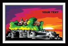 Cultura de Bali Indonésia, vetor de pintura ilustração do vetor
