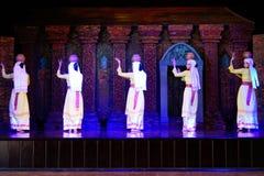 Cultura de Champa, bailarines de las mujeres, demostración de la danza tradicional, mi santuario del hijo, Vietnam Fotos de archivo