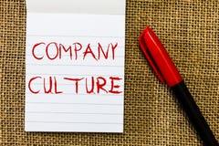 Cultura de empresa do texto da escrita Conceito que significam o ambiente e elementos em que os empregados trabalham foto de stock royalty free