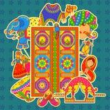 Cultura de Rajasthan no estilo indiano da arte Fotografia de Stock