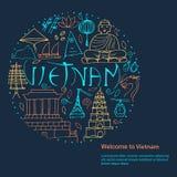 Cultura de Vietnam Dé el concepto de diseño redondo exhausto en un bl oscuro Fotografía de archivo libre de regalías