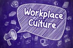 Cultura del lugar de trabajo - ejemplo de la historieta en la pizarra azul stock de ilustración