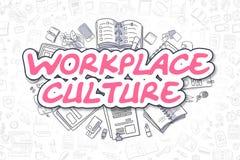 Cultura del posto di lavoro - testo del magenta di scarabocchio Concetto di affari Fotografia Stock Libera da Diritti