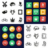 Cultura holandesa toda en los iconos uno negros y el diseño plano del color blanco fijado a pulso libre illustration