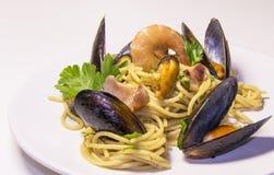 Cultura italiana do marisco da massa dos espaguetes, culinária mediterrânea fotografia de stock royalty free