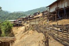 cultura tribal nativa da vila do tribo de Akha, Pongsali, Laos foto de stock royalty free