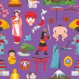 Cultura y geisha japoneses del vector de Japón en kimono con el flor Sakura en el sistema del ejemplo de Tokio de los símbolos de Imagen de archivo libre de regalías
