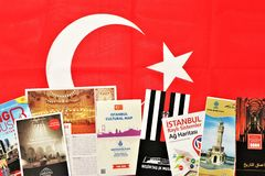Brochures of Turkey. Useful to prepare a trip. stock image