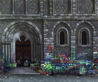 Cultural Assets. Symbolic picture painted by me, named Cultural Assets. It shows a church facade with entrance door smeared by graffiti stock illustration