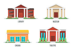 Cultural buildings set. Vector illustration of different types of cultural buildings: library, museum, cinema, theatre. Isolated on white background. Flat design vector illustration