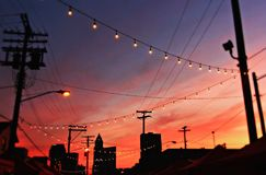 A sunset over the Night Market in Cleveland. The cultural capital of Ohio hosts a proper Asian night market stock photography