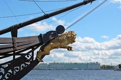 Golden Lion `above the Winter Palace`. St. Petersburg. stock photo