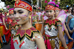 Cultural carnival. Children dressed in various costumes while attending cultural carnival in the city of Solo, Central Java, Indonesia royalty free stock photos