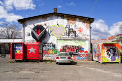 Cultural center Pekarna, Maribor, Slovenia. MARCH 24, 2016: Cultural center of alternative styles like punk, metal, anarchism. Place was squat the past royalty free stock photo