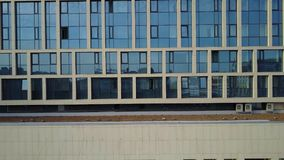 2017 04: The cultural center of Ufa city. Aerial view of Sheraton hotel. Ufa - the capital of Bashkortostan, where they drink mare`s milk and go to work on stock video footage