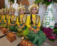 Cultural dancers. Malay Cultural dancers with traditional entire Royalty Free Stock Image