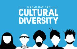 Cultural Diversity card of diverse ethnic people. Cultural Diversity Day greeting card illustration. Diverse social group of people includes african, asian and vector illustration