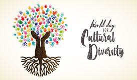 Cultural Diversity Day card of human hand tree. Cultural Diversity Day card illustration. Tree made of human hand prints together for love and peace concept royalty free illustration