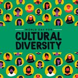 Cultural Diversity card of diverse ethnic people. Cultural Diversity Day greeting card illustration. Diverse social group of people includes muslim, african vector illustration