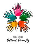Cultural Diversity Day poster of color human hands. Cultural Diversity Day illustration card of colorful human hands united for social freedom and peace stock illustration