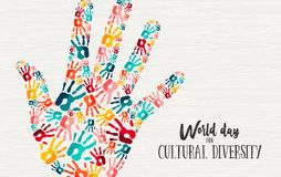 Cultural Diversity Day diverse hand concept card. Cultural Diversity Day illustration of colorful human hand print shape for social support and unity stock illustration
