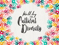 Cultural Diversity Day diverse hand print card. Cultural Diversity Day illustration of colorful human hand prints together for love and support stock illustration