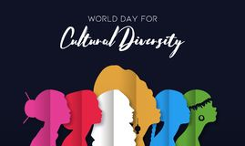 Cultural Diversity Day card of diverse women heads. Cultural Diversity Day illustration of diverse ethnic women head silhouette in paper cut style royalty free illustration