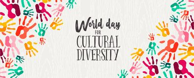 Cultural Diversity Day banner of color human hands. Cultural Diversity Day web banner illustration of colorful human hand prints for social support and unity stock illustration