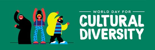 Cultural Diversity banner of diverse people group. Cultural Diversity Day web banner illustration. Happy friend group of diverse ethnic people royalty free illustration