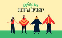 Cultural Diversity illustration of diverse ethnic people. World Day for cultural diversity event illustration of diverse friend group. Includes arab woman with stock illustration