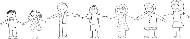 Cultural Diversity People Holding Hands Doodle Royalty Free Stock Images