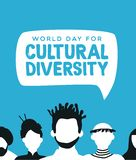 Cultural Diversity card of diverse people team. Cultural Diversity world day illustration for diverse community concept with social people group vector illustration