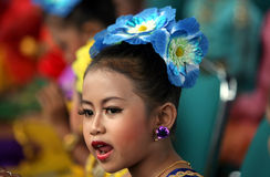 Cultural festival. A child wearing patterned vegetation in a cultural festival in the city of Solo, Central Java, Indonesia Royalty Free Stock Image