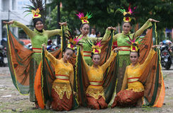 Cultural festival. The dancers brought a peacock dance in a cultural festival in the city of Solo, Central Java, Indonesia Stock Image