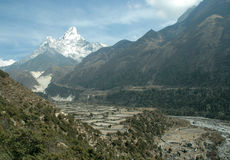 Cultural fields in the Himalayas. Culturar fields along the trail to Everest close to Lukla village Stock Photography