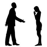 Cultural greeting. Editable vector silhouettes of the culture clash as a western man and an east asian woman greet each other Royalty Free Stock Photos