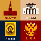 Cultural, historic and religion russial flat icons Stock Images